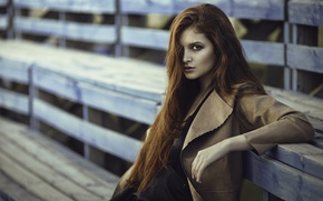 Picture girl, portrait, red, long hair
