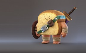 Wallpaper mood, sword, bread, Bread Warrior, warrior, Zhang Chi, art, rendering