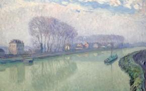 Picture landscape, river, picture, Henri Lebasque, Henri Lebacq, Marne in Pompom