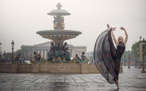 Wallpaper Johanna Lorand Guilbert, fountain, dance, Paris, France, mood, ballerina