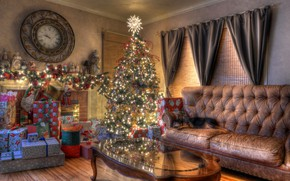 Wallpaper Christmas, new year, tree, living room, watch, holiday, gifts, garland, sofa, dog