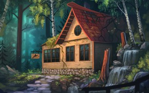Picture waterfall, tale, track, sign, cottage, art, in the woods, wooden house, birch, Yakovlev-vad