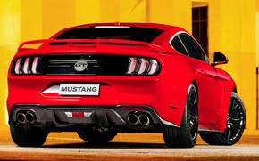 Picture red, Ford, rear view, Fastback, 2018, Mustang GT