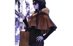 Picture girl, glasses, cigarette, art, overwatch, widowmaker, Amélie Lacroix
