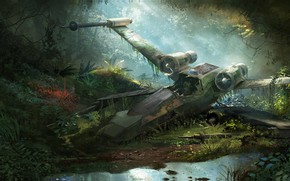 Picture forest, fiction, the crash, art, Diamond Kitty Finding Her Johnson, X-Wing Wreckage