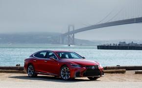 Picture red, bridge, Lexus, LS 500, AWD SPORT