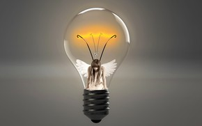 Picture light bulb, girl, wings, thread, the intensity