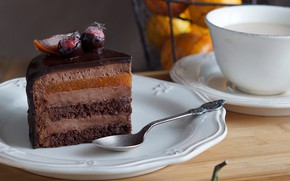 Picture chocolate, Cup, cake, layers, piece