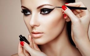 Wallpaper arrows, girl, face, look, makeup