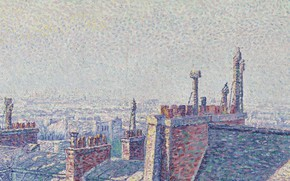Picture picture, the urban landscape, Gustave Cariot, pointillism, Gustave Cairo, The Rooftops Of Paris