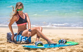 Wallpaper kitesurfing, Board, figure, tanned, sand, sea, topic, hairstyle, beautiful, girl, kiting, the sun, glasses, bag, ...