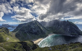 Picture sea, the sky, clouds, mountains, Norway, Norway, Kvalvika