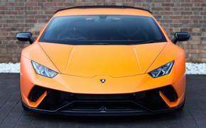Picture Lamborghini, front view, orange, UK-spec, Performante, Huracan, 2017