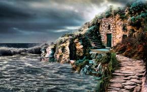 Picture Sea, Figure, Ruins, Art, Art, Sea, Ruins