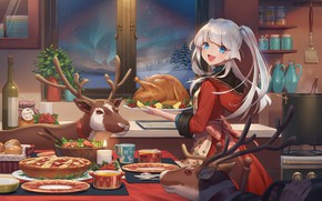 Wallpaper girl, new year, Christmas, chicken, deer, karesuki