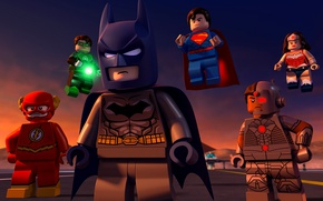 Wallpaper Green Lantern, yuusha, mask, Justice League, animated movie, bat, DC Comics, animated film, Cyborg, Lego, ...
