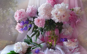 Picture pink, bouquet, candy, peonies