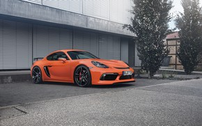 Picture auto, Porsche, Cayman, Orange, TechArt