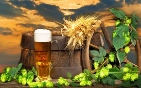 Wallpaper landscape, barrel, background, wheel, glass, hops, foam, clouds, the sky, ears, beer, sunset