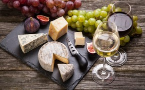 Picture wine, cheese, glasses, grapes, knife, bokeh, figs