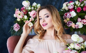 Picture flowers, pose, portrait, roses, makeup, dress, hairstyle, blonde, tulips, beautiful, sitting, in the chair, bokeh, …
