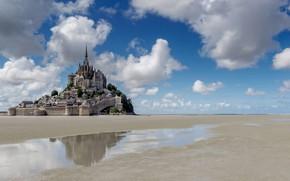 Picture clouds, reflection, castle, France, tide, the monastery, Normandy, Mont-Saint-Michel