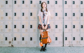 Picture girl, face, hair, form, bag, lockers storage