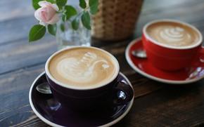 Picture flowers, foam, cappuccino, figure