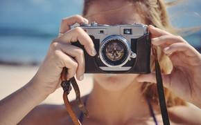 Picture sea, beach, summer, girl, the camera