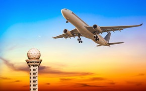 Picture the sky, tower, glow, flight, the plane, the rise, passenger