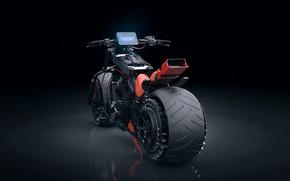Picture design, darkness, motorcycle, back, Autonomous Bike