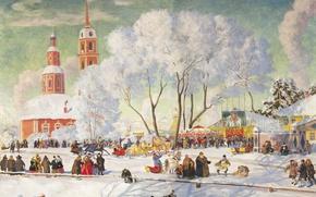 Picture winter, trees, oil, Church, temple, canvas, people, Boris KUSTODIEV, Carnival. 1920