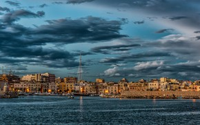 Picture sea, the sky, clouds, lights, home, yachts, the evening, Italy, harbour, Puglia, Trani