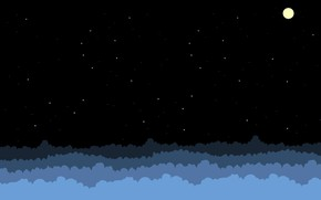 Picture The sky, Clouds, Minimalism, Night, Figure, Stars, The moon, Art