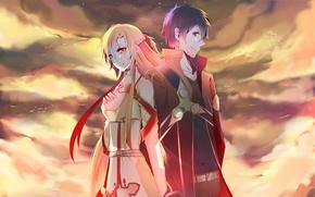 Picture anime, art, Sword art online, Sword Art Online, Asuna, Kirito