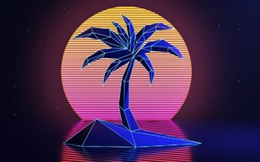 Picture The sun, Music, Stars, Palma, Neon, Space, Background, Synthpop, Darkwave, Synth, Retrowave, Synthwave, Synth pop