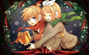 Picture children, gift, new year, two, Vocaloid, Vocaloid, Kagamine Len, Kagamine Rin