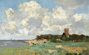 Picture clouds, landscape, tower, picture, Cornelis Vreedenburgh, A Sunny View of a Farm in a Polder …