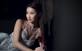 Picture girl, wine, Asian