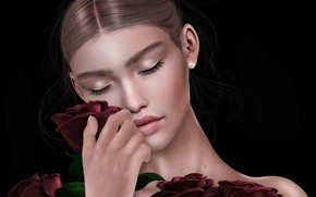 Picture girl, face, background, roses, bouquet