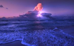Picture sea, clouds, shore, glow