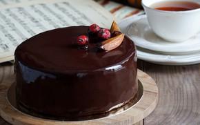 Picture berries, tea, chocolate, cake