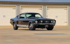 Picture Ford Mustang, Black, 1967, Fastback, Classic car