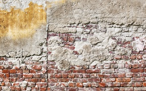 Picture wall, Red, yellow, bricks, pattern, rust