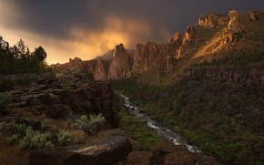 Wallpaper river, Oregon, canyon, USA, The Canyon, river Crooked, national Park, Smith Rock
