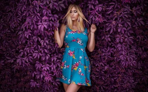 Picture leaves, girl, pose, background, dress, hairstyle, blonde, purple, the bushes