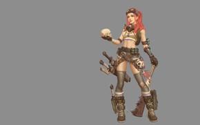 Wallpaper girl, weapons, skull, anime, warrior, art, Jia Cai