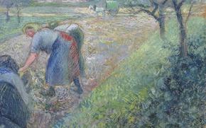 Picture picture, genre, Camille Pissarro, Peasants at Work. PONTOISE
