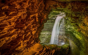 Picture Park, rocks, waterfall, USA, the state of new York, Watkins Glen