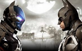 Picture The city, The game, The moon, Batman, Costume, Helmet, City, Hero, Mask, Moon, Superhero, Hero, …